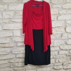 Conected Red and Black Dress 16W